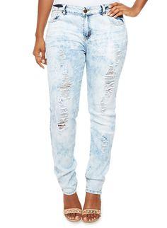 d6811ea32b1 Rainbow Shops Plus Size Light Cloud Wash Jeans with Distressed Details   27.99 Rainbow Shop