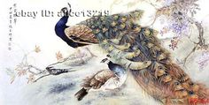 Chinese 100% real natural silk thread,su hand embroidery kits:peacocks on rock 3 #Unbranded