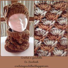 Crochet o ganchillo: Gorro y cuello en relieve y concha