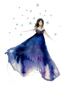 girl watercolor painting | ... Night Art Print graceful watercolor painting by oladesign, $25.00
