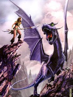 Sorrel's Dragons: Jenny Burke likes amethyst dragons - so especially for her I present this rather fierce example. Sorrel doesn't think the young woman's garb is a good choice for fighting dragons. This is by Max Bertolini.
