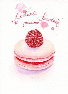 ORIGINAL Painting Raspberry Macaron Sweet por ForestSpiritArt, £20.00