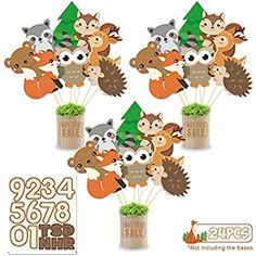 Woodland Animals Centerpiece Sticks DIY Woodland Animals Table Decorations Woodland Creature Cutouts for Woodland Theme Baby Shower Birthday Party Supplies Set of 24 Woodland Animals Theme, Woodland Baby, Woodland Creatures, Woodland Forest, Baby Shower Themes, Baby Shower Decorations, Table Decorations, Shower Ideas, Kids Party Centerpieces