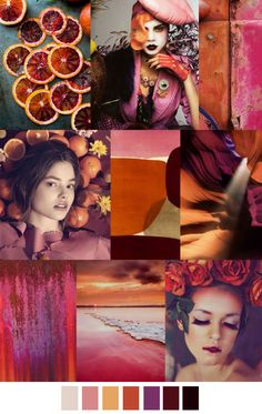 Jan's Mood Board Du Jour ♥ pinks, oranges, light purple, burgundy and black.