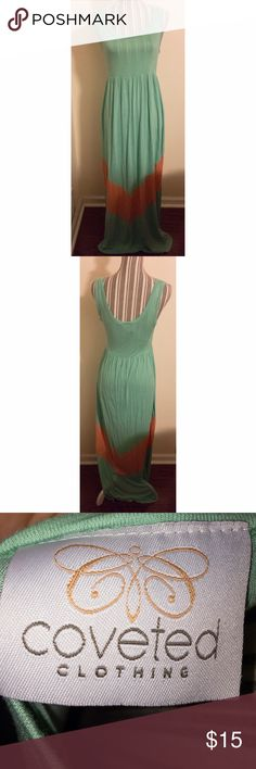 Mint Green and Light Orange Maxi Dress This dress is super comfy and true to size Large. It even has stretch to it! It was worn a few times but is still in great condition! There are some weird stitches in the color seams as shown in the last picture but it's not noticeable when worn, this is just how it came. This dress is perfect for the spring and summer! Color is most accurate in last photo coveted clothing Dresses Maxi
