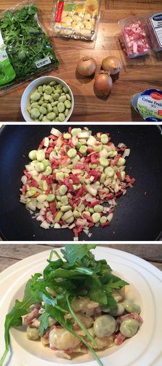 Gnocchi met spekjes, tuinbonen, crème fraîche en rucola! Kijk voor het recept op de site!