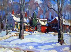 """Connected Farmhouse in Winter"" 9x12 oil on artist board by Aldro Hibbard."
