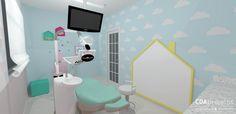 Consultório odontológico infantil colorido | CDA projetos - sala de atendimento para as crianças em tons candy colors e detalhes decorativos lindos