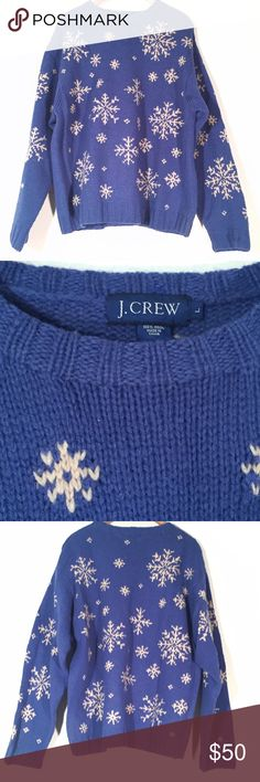 J. Crew Snowflake Wool Chunky Sweater This adorable sweater is in perfect condition. 100% Wool and has off-white snowflakes on a gorgeous blue background. J. Crew Sweaters Crewneck