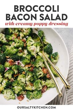 Broccoli Salad Bacon, Raw Broccoli, Bacon Salad, Picnic Foods, Picnic Recipes, Side Dish Recipes, Side Dishes, Salad Works, Potluck Dinner
