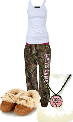 """Pajamas"" by camo-ammo-queen ❤ liked on Polyvore. I have the slippers, pretty sure I could live the rest of my life in this outfit lol"