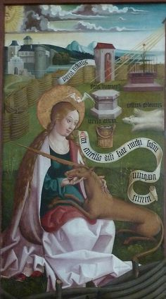 Virgin Mary: Most blessed saint - Divine unicorn of the church - Queen of Heaven.