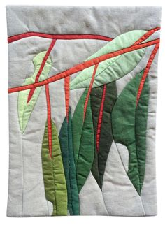 Contemporary quilted artwork by Ruth de Vos. high by wide Natural linen fabric, hand-dyed cotton fabric, cotton batting. Fabric Art, Fabric Crafts, Linen Fabric, Cotton Fabric, Landscape Art Quilts, Australian Flowers, Flower Quilts, Textile Fiber Art, Quilt Block Patterns