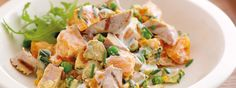 This healthy salad is made with sweet potato and tuna steak and finished with a strained yoghurt and lemon juice dressing. Healthy Salads, Healthy Foods To Eat, Healthy Eating, Healthy Recipes, Tuna Steaks, Frozen Peas, Main Meals, Sweet Potato, Potato Salad