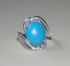 NATURAL 4.13ct TURQUOISE on SOLID 925 Sterling Silver Cocktail Ring, size 6.5