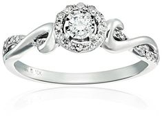 Amazon Collection 10k White Gold Diamond Engagement Ring (1/4cttw, I-J Color, I2-I3 Clarity), Size 7