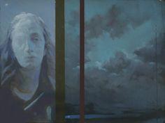 Notturno, olio su ardesia, 25 x 35 cm, 2015