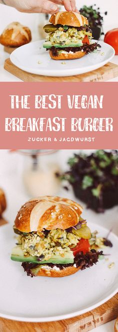 The Best Vegan Breakfast Burger stuffed with scrambled tofu, vegan mayonnaise, avocado, pickles, salad and tomatoes. GOOD MORNING!