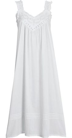 Cotton nightgown trimmed in Cluny lace and hand-detailed with embroidery and faux pearls. Sleeveless cotton nightgown features ruffles and wide straps.