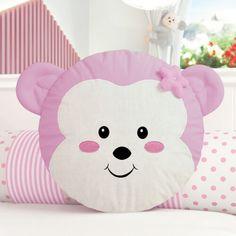 Almofada Redonda Amiguinha Macaquinha Rosa 30cm Fabric Toys, Fabric Crafts, Sewing Crafts, Cute Pillows, Baby Pillows, Cot Bumper, Cute Cat Wallpaper, Sewing Pillows, Diy Stuffed Animals