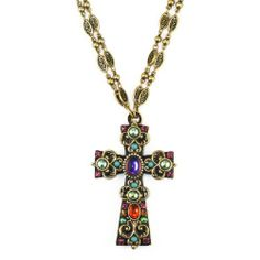 Large Multicolored Glass-Ornamented Cross on Double-Chain Michal Golan Jewelry. $105.00