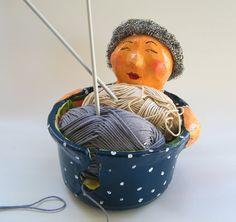 Cool yarn bowl Whimsical lovely lady yarn holder by RecycoolArt, $35.00