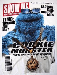 Cookie Monster Show Me Magazine Cover Like A Boss, Elmo, Winter Hats, Cookies, Cookie Monster, Magazine, Cover, Crack Crackers, Biscuits