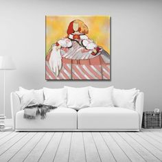 Cuadro de Menina Moderna fondo colorido y pañuelo Easy Canvas Painting, Collage, The Originals, Paintings, Home Decor, Ideas, Hipster Baby Girls, Colouring In, Home