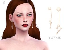 The Sims Resource: Gold Pearl Earrings - SOPHIE by Starlord • Sims 4 Downloads