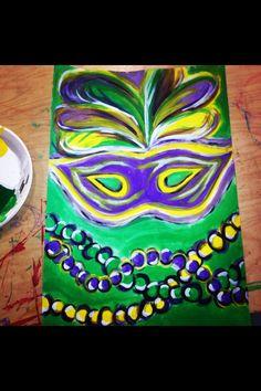 Diy mardi gras painting canvas