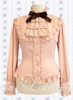 Lolita Special Bowtie Ruffle Collar Pink Lady Blouse