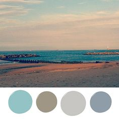 For a unique coastal palette that works in any space, use a combination of blues and taupes. Colors like gray-blue, breezy teal, and neutral brown are Coastal Colors, Coastal Decor, Coastal Curtains, Coastal Rugs, Coastal Bedding, Coastal Lighting, Coastal Furniture, Summer Painting, Coastal Cottage