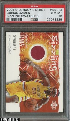 2005-06 UD Debut Sizzling LeBron James Cavaliers Jersey PSA 10 GEM MINT #LeBronJames #PSA10 #sportscards Lebron James Rookie Card, Lebron James Cavaliers, Lebron James Cleveland, Basketball Cards, Gems, Mint, Upper Deck, Ebay, Sports