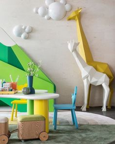 Find more neutral colour bedroom ideas for kids room that are perfect for a gender neutral room décor and design. Kindergarten Interior, Kindergarten Design, Playroom Design, Kids Room Design, Playroom Ideas, Kids Play Area, Mellow Yellow, Kid Spaces, Kids Decor