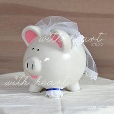 Items similar to Custom Wedding Piggy Bank on Etsy Pig Bank, Penny Bank, Honeymoon Fund, Cute Piggies, Miss Piggy, Wedding Honeymoons, Money Box, Little Pigs, Cute Drawings