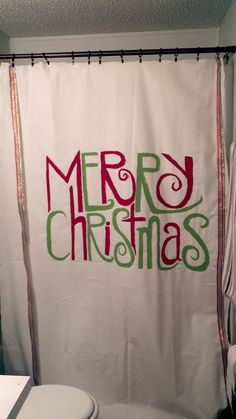 Merry Christmas Shower Curtain! Would Totally Love To Do This With  Something More Personalized.