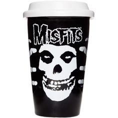 Misfits Fiend Tumbler by Sourpuss at Inked Boutique.  Are you a coffee fiend when you roll out of your coffin?! Get your cold, dead hands on our Misfits Fiend Tumbler! This porcelain to-go cup has the iconic Crimson Skull and boney skeleton hands as a wrap-around design. Comes with removable rubber lid too. Microwave safe.  Holds 12 oz. Officially licensed.