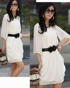 NWT Women Korean Fashion White Chiffon Satin Dress