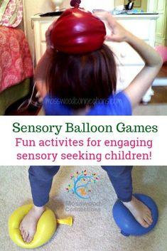 Squishy Squashy Sensory Balloon Games Fun activities for engaging sensory seeking children! #mosswoodconnections #sensory #autism Sensory Activities For Autism, Diy Sensory Toys, Sensory Games, Sensory Diet, Work Activities, Infant Activities, Sensory Play, Sensory Rooms, Sensory Issues