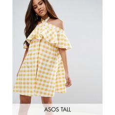 ASOS TALL Halter Neck Sundress in Gingham ($45) ❤ liked on Polyvore featuring dresses, yellow, short dresses, mini dress, yellow ruffle dress, asos dresses and short halter dress