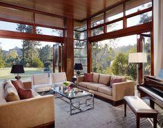 salon - Mandeville Canyon Residence par Rockefeller Partners Architects - Los Angeles, Usa - photo Eric Staudenmaier