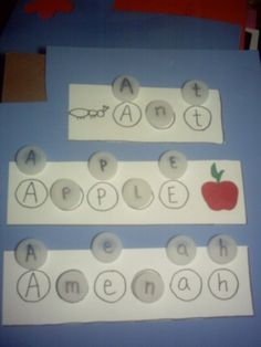 "bottle cap letters - love that this is ""green"" activity too!"
