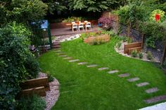 Flawless Small Outdoor Landscaping Ideas for Backyard Design with Little Green Fresh and A Line Pavement Path in Green Grass also Rounded by Cool Big Trees Completed with Concrete Brick Fence Idea
