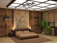 asian bedroom decor modern interior decorating ideas bonsai trees low bed creative ceiling lighting