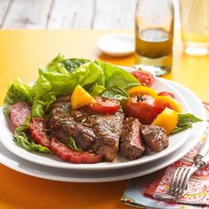 You can't go wrong with these simple Ribeyes with Garden Tomatoes. More of our best grilled steak recipes: http://www.bhg.com/recipes/grilling/Steak/grilled-steak-recipes/?socsrc=bhgpin081813ribeyes=8