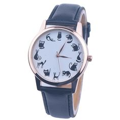 Women's Hourly Black Cat Quartz Watch with Black Strap.  Shop today!