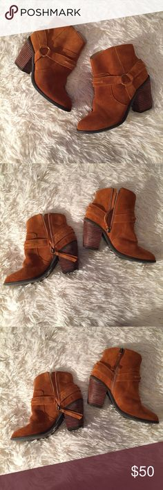 Saddle Genuine Suede Leather Stack Heel Booties Worn twice Kelsi Dagger Shoes Ankle Boots & Booties