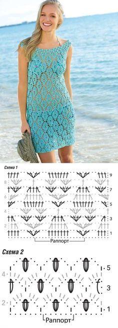 Голубое платье для пляжа -
