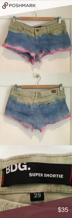 tie dye vintage Urban Outfitters shorts BDG shorts, pink, blue, and green Urban Outfitters Shorts