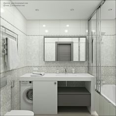 Image result for how to fit a washing machine in a small bathroom